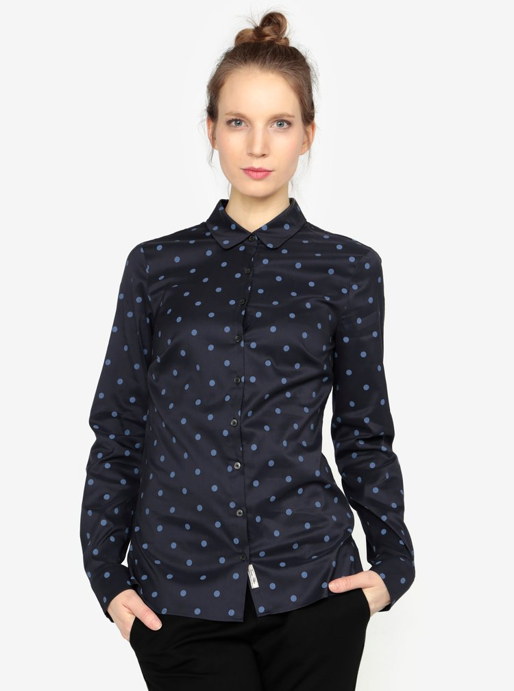 Tmavě modrá puntíkovaná dámská košile Tommy Hilfiger
