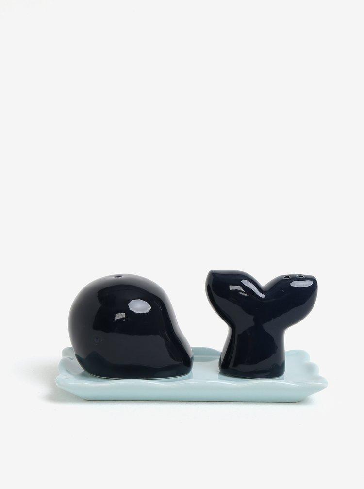 Sada keramické solničky a pepřenky ve tvaru velryby v tmavě modré barvě CGB