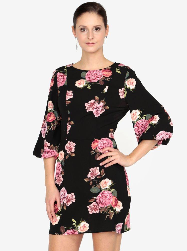 Černé květované šaty s 3/4 rukávem AX Paris