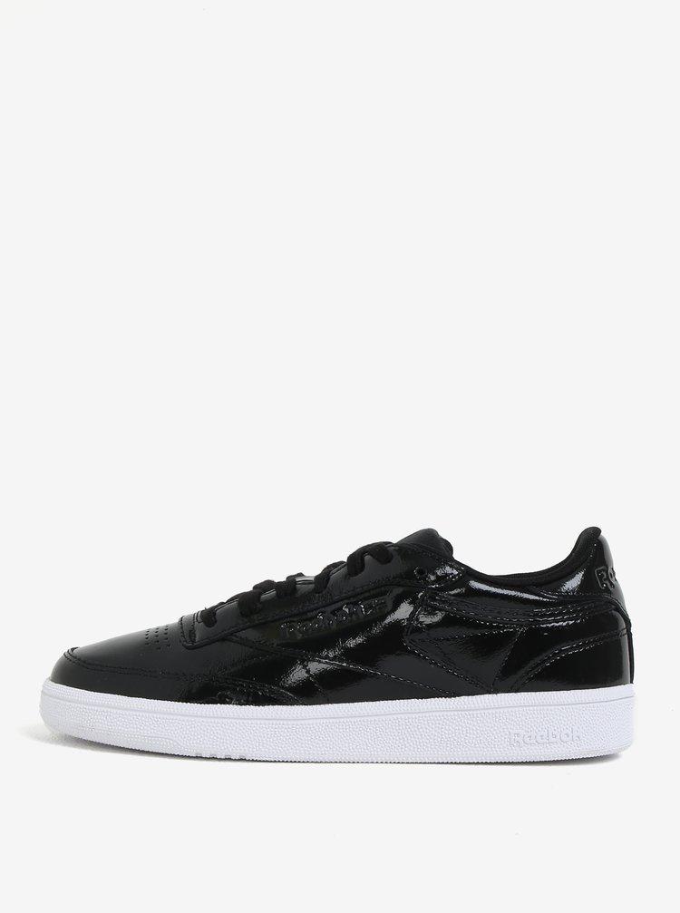 Pantofi sport negri din piele lacuita pentru femei Reebok Classic Club C 85