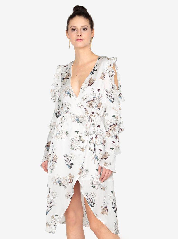 Krémové šaty s volány a páskem MISSGUIDED