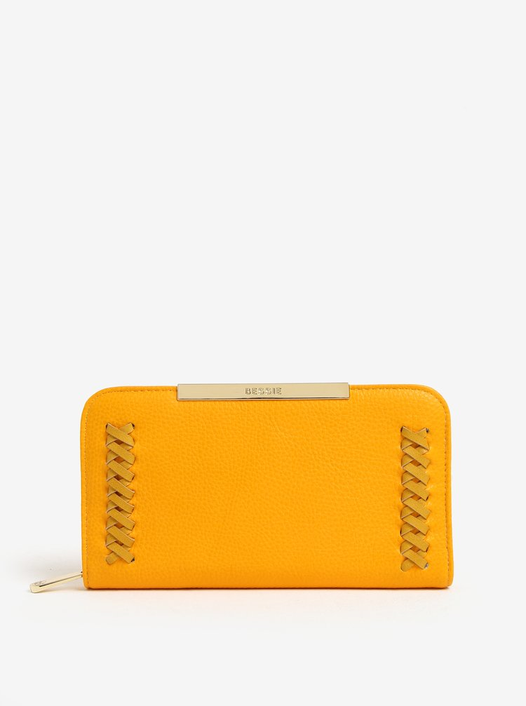 Žltá peňaženka s prešívanými detailmi Bessie London