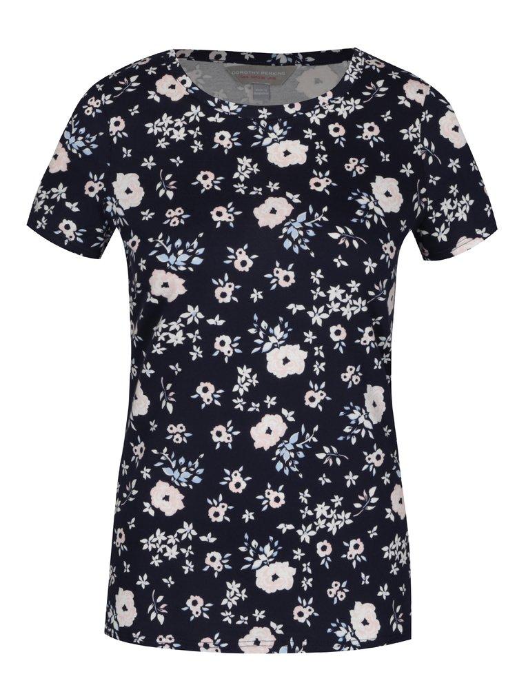 Tricou bleumarin cu print floral - Dorothy Perkins Petite