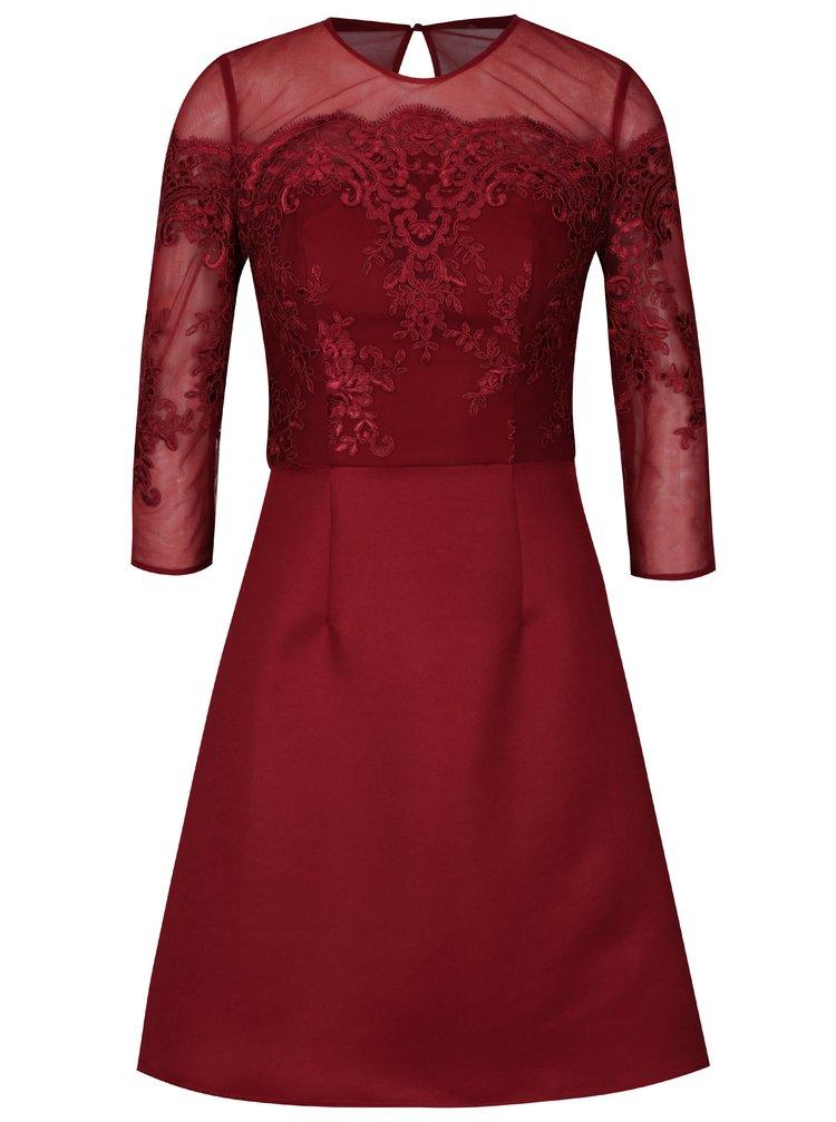Vínové šaty s krajkovým topem Chi Chi London Libbie