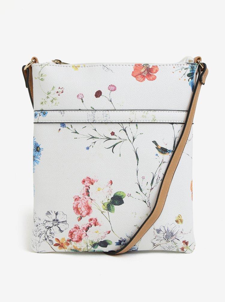 Geanta crossbody alba cu print floral Bessie London