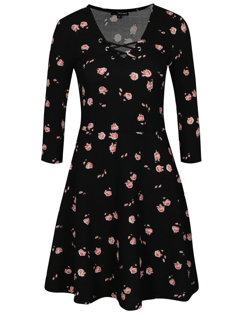 Rochie neagra cu print floral si maneci 3/4 TALLY WEiJL