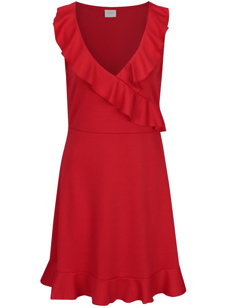 Červené šaty s volány VILA Mandy
