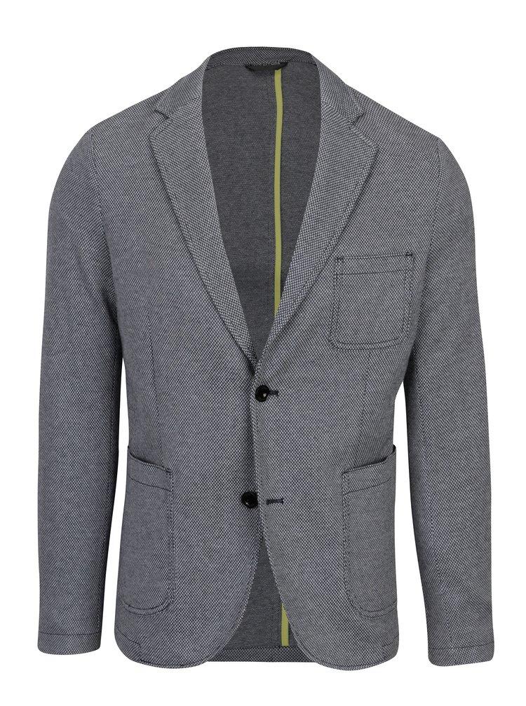 Modro-šedé pánské vzorované sako s kapsami s.Oliver