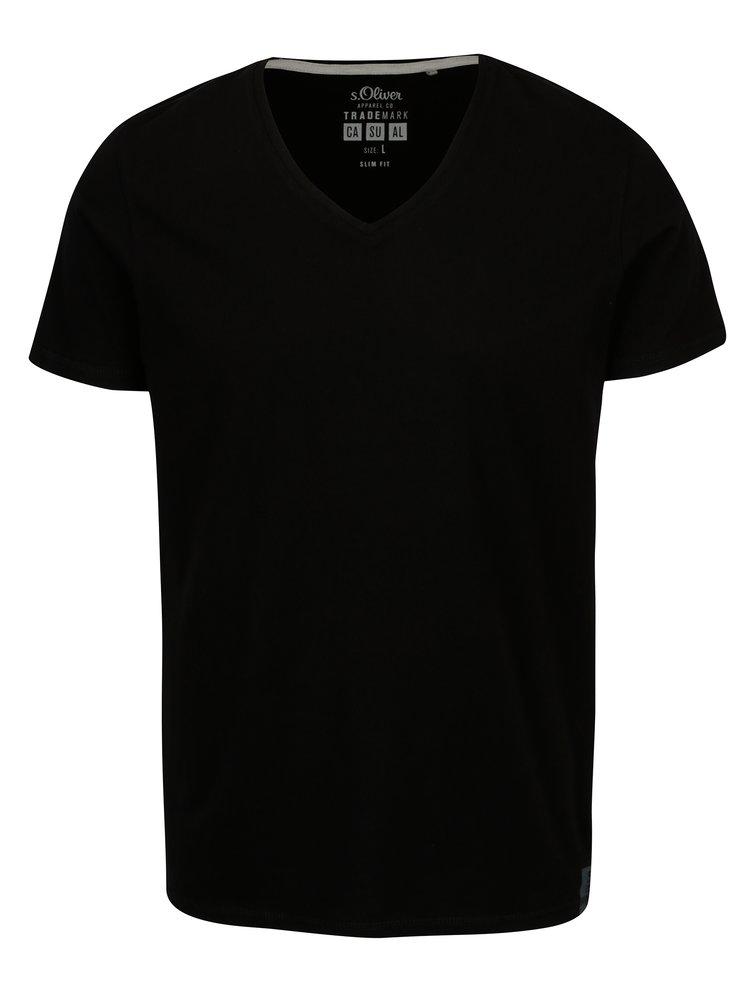 Černé pánské basic tričko s véčkovým výstřihem s.Oliver