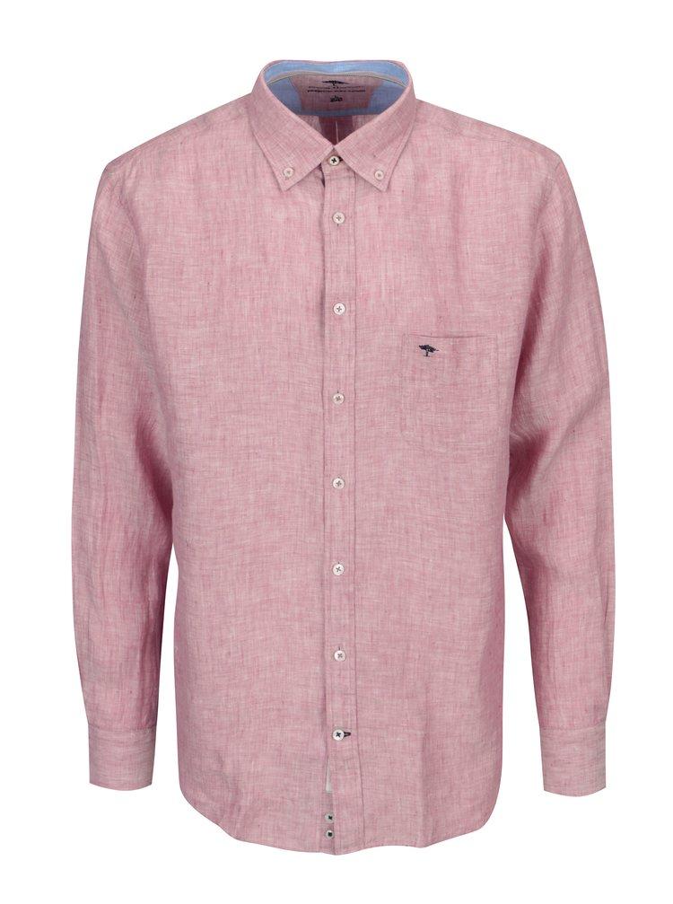 Růžová žíhaná lněná casual fit košile Fynch-Hatton