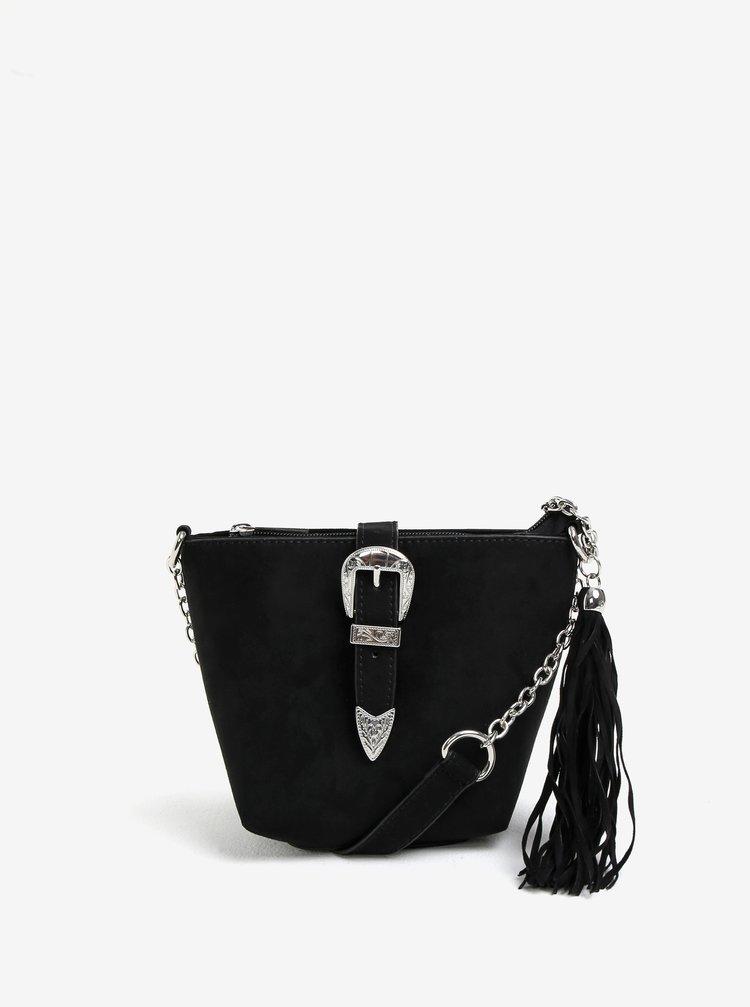 Černá crossbody kabelka v semišové úpravě Miss Selfridge