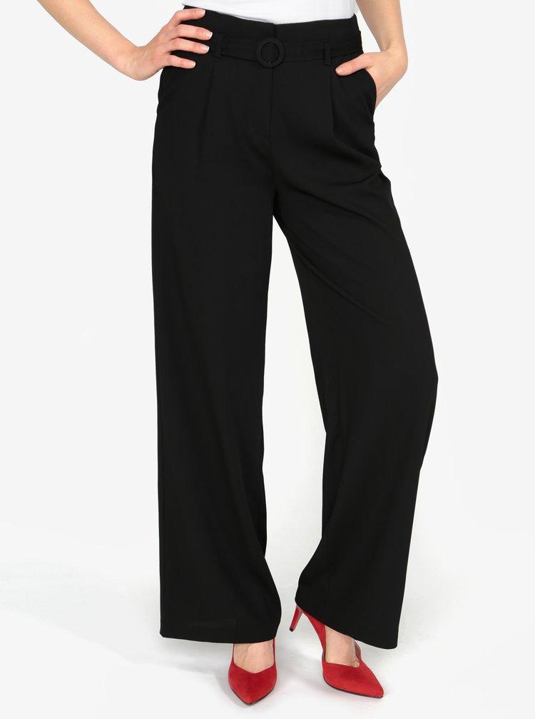 Černé volné kalhoty s vysokým pasem a páskem VERO MODA Emmy