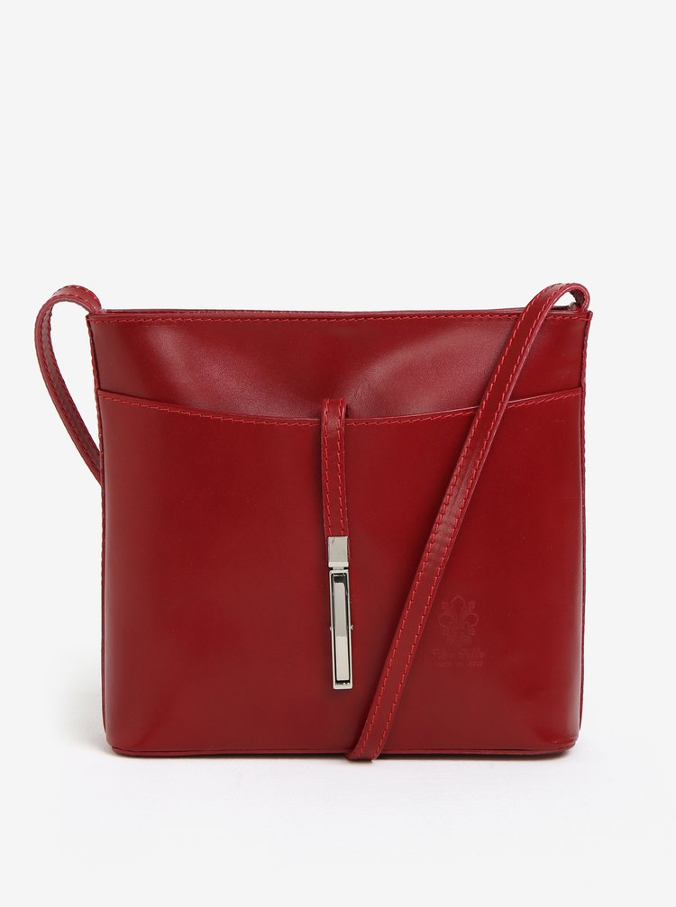 Červená kožená crossbody kabelka s detailem ve stříbrné barvě KARA