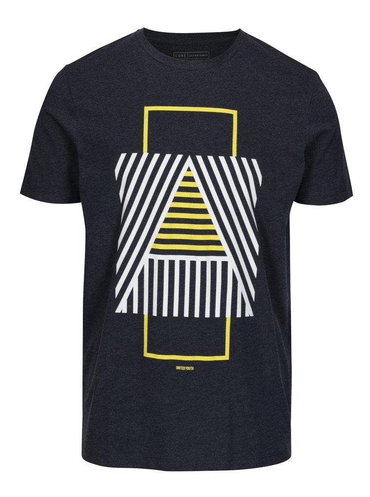 Tricou bleumarin cu print geometric - Jack & Jones Booster