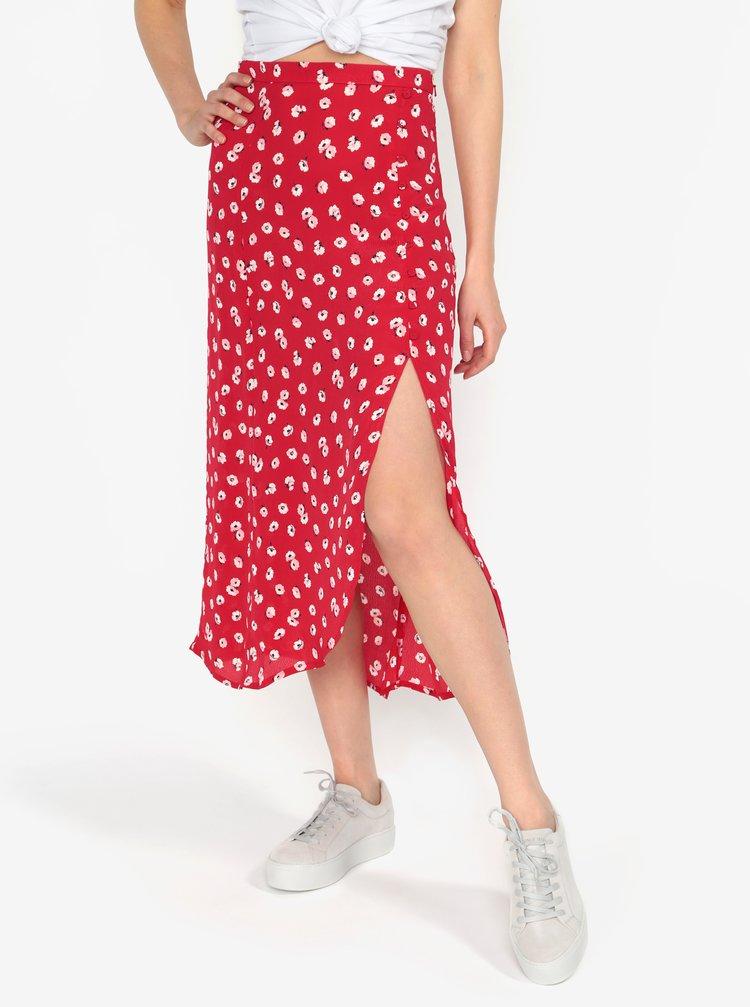 Červená květovaná průsvitná sukně s rozparkem Miss Selfridge
