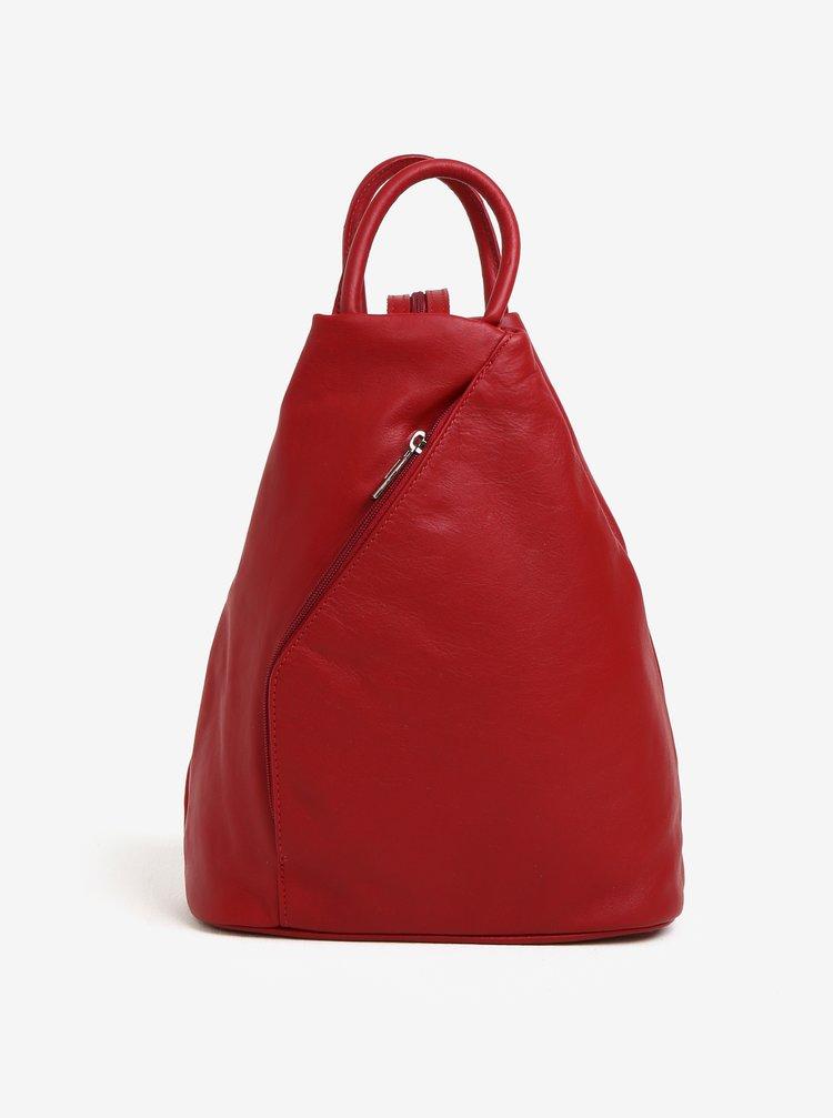 Červený dámský kožený batoh KARA