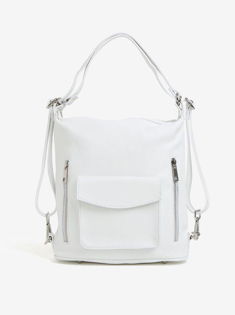 Bílá dámská kožená kabelka s kapsami KARA