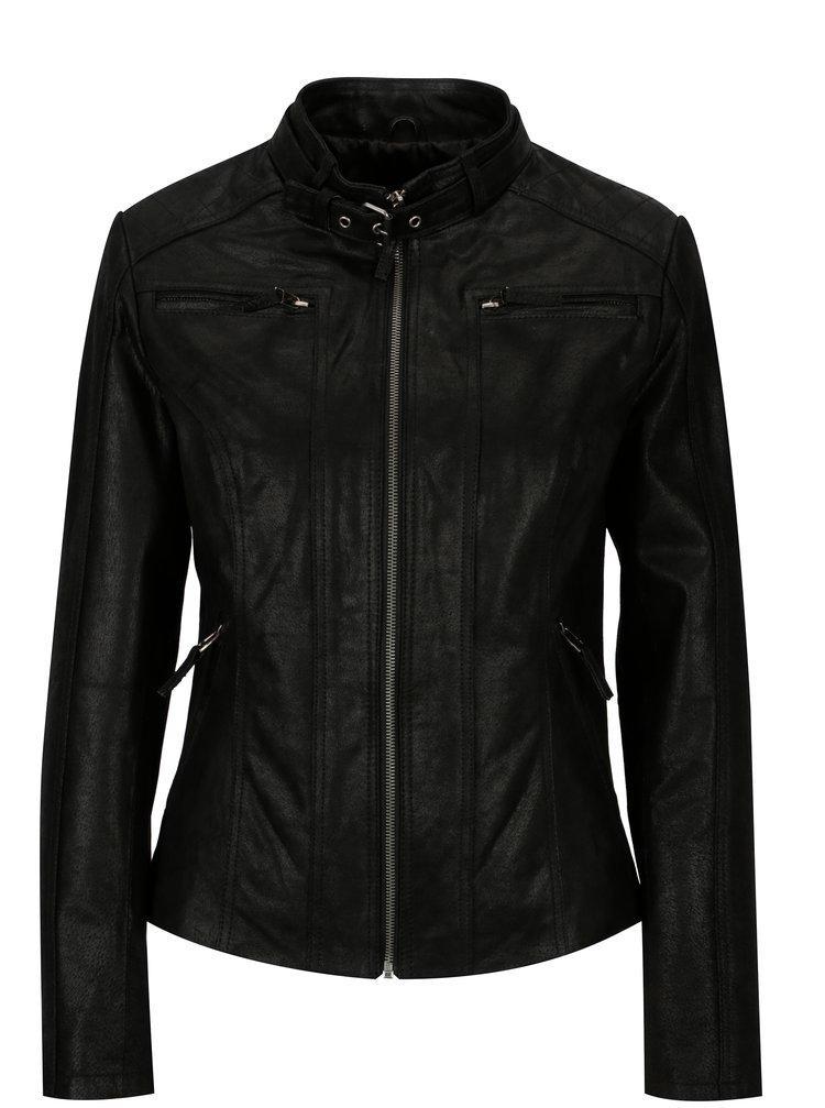 Černá dámská kožená bunda s přezkou KARA Diva