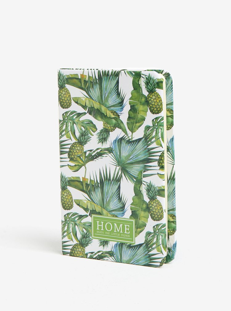 Zeleno-krémový zápisník se vzorem ananasů Kaemingk A6