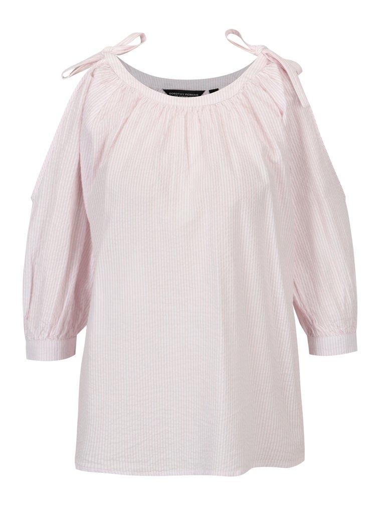 Bílo-růžová pruhovaná halenka s průstřihy na ramenou Dorothy Perkins