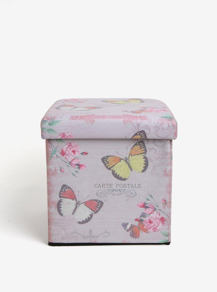 Růžový skládací taburet Dakls