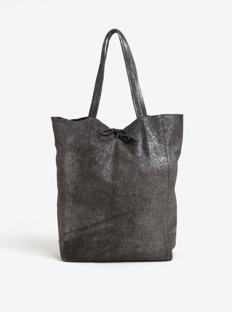 Tmavě šedý semišový třpytivý shopper ZOOT Glitter