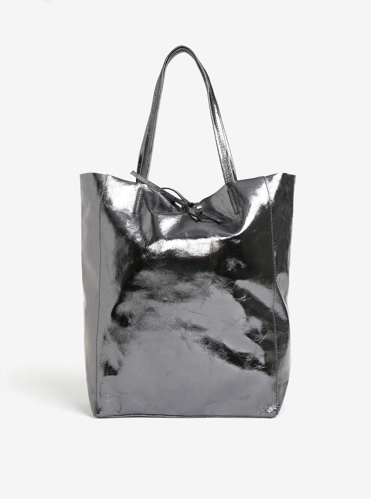 Geanta argintiu inchis shopper din piele naturala ZOOT Glitter
