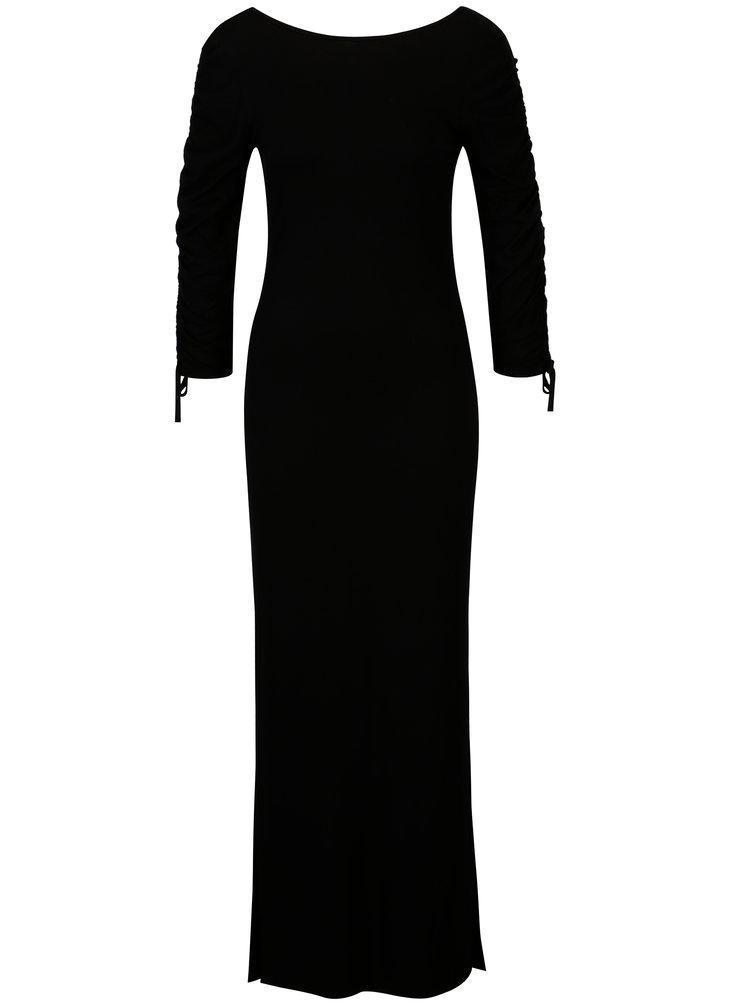 Černé maxišaty s řasenými rukávy Dorothy Perkins