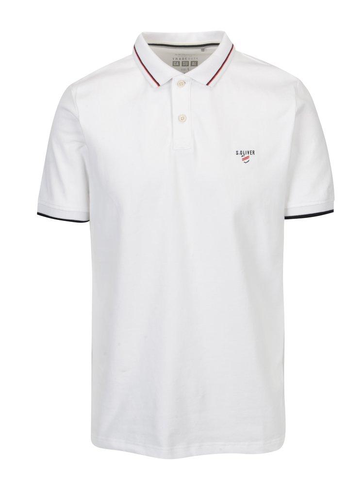 Tricou polo slim fit alb cu dungi pentru barbati -  s.Oliver