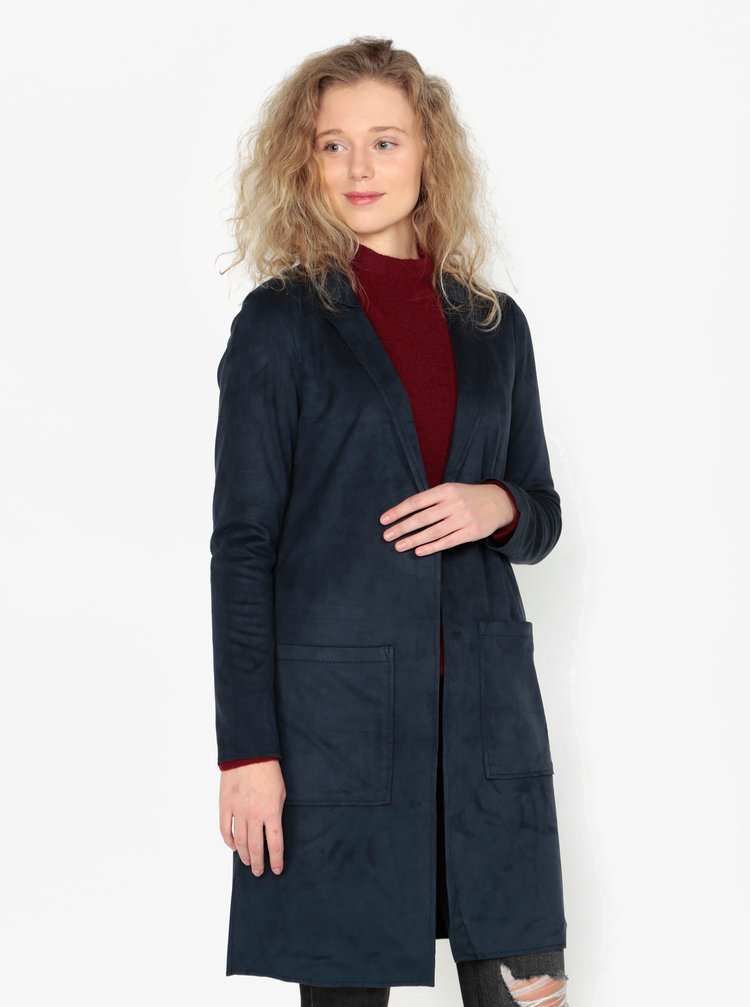 Tmavomodré dámske dlhé sako v semišovej úprave s. Oliver
