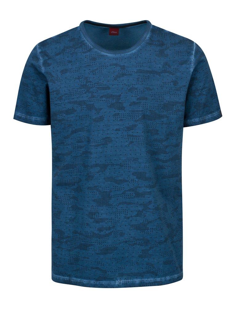 Tmavě modré pánské vzorované slim fit tričko s.Oliver