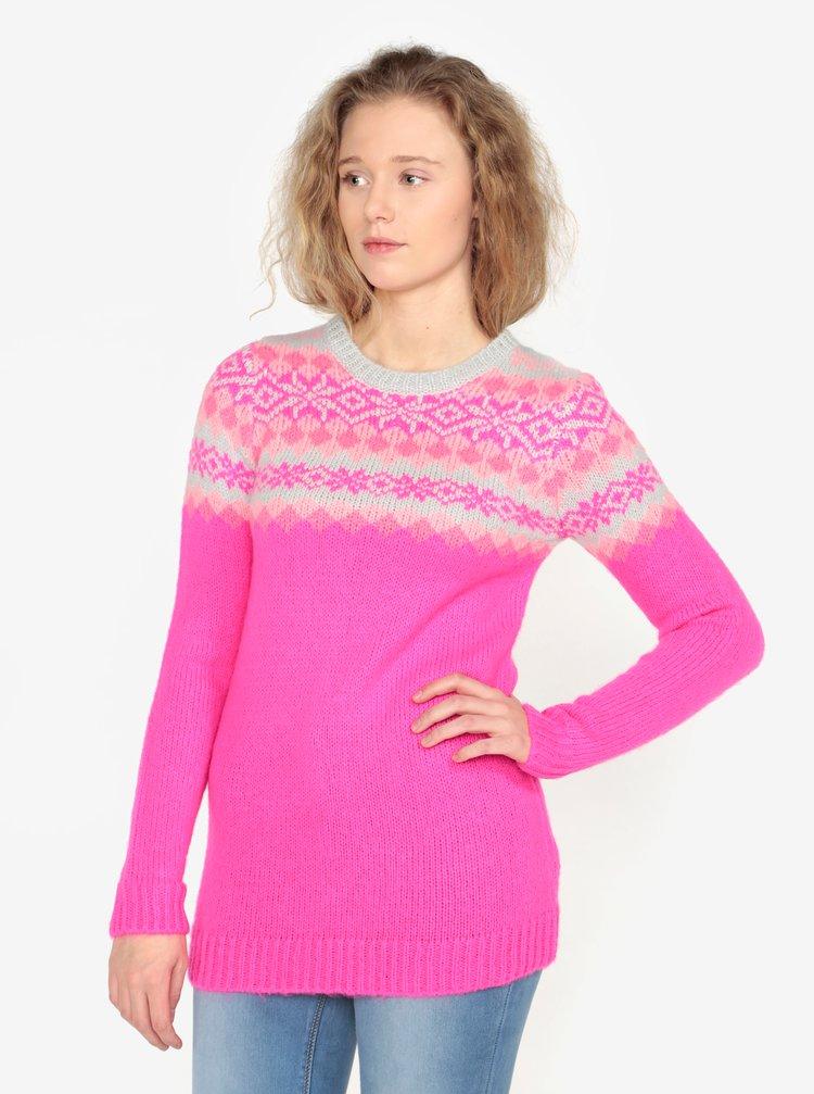 Pulover roz cu model norvegian Oasis Fairisle