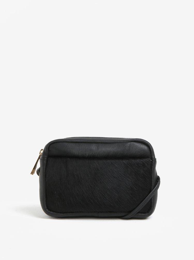 Černá kožená crossbody kabelka s imitací zvířecí srsti Oasis Camera