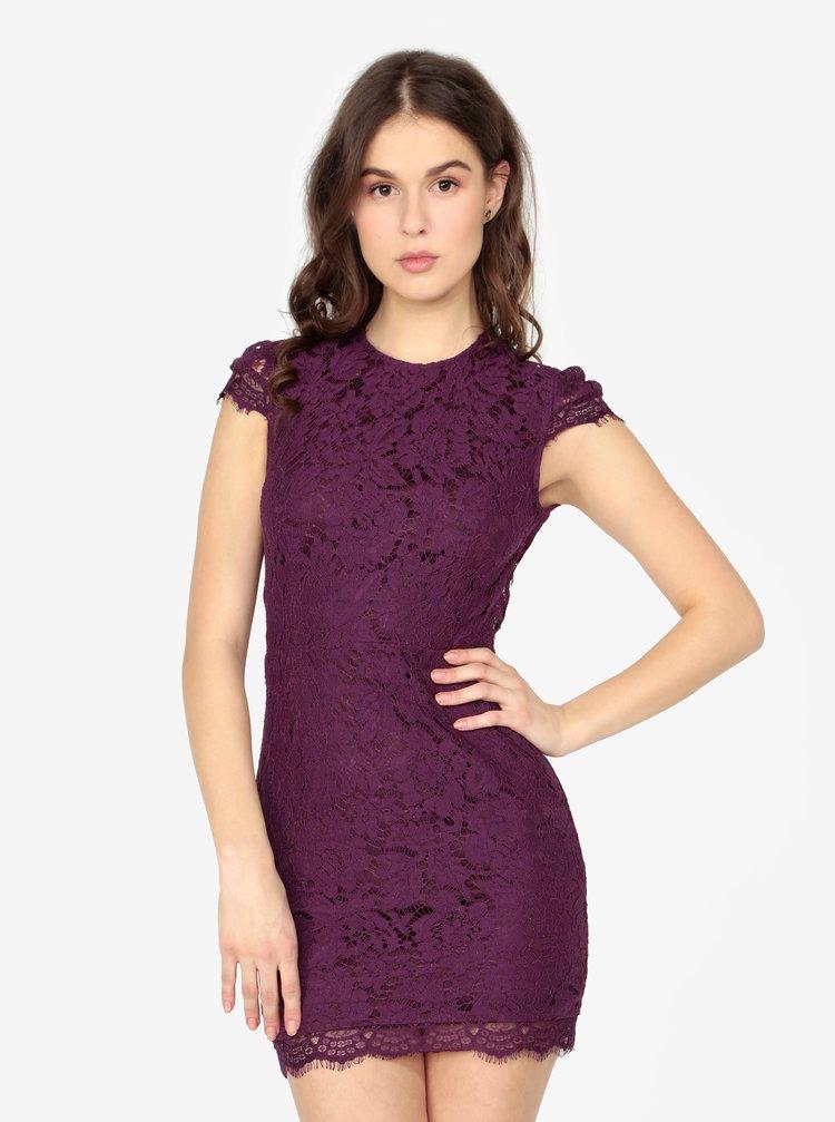 a5b0a8d16 Fialové čipkované šaty s holým chrbtom MISSGUIDED | ZOOT.sk