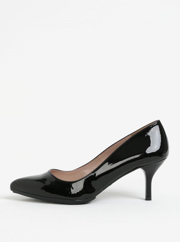Pantofi negri de lac cu varf ascutit si toc inalt - OJJU