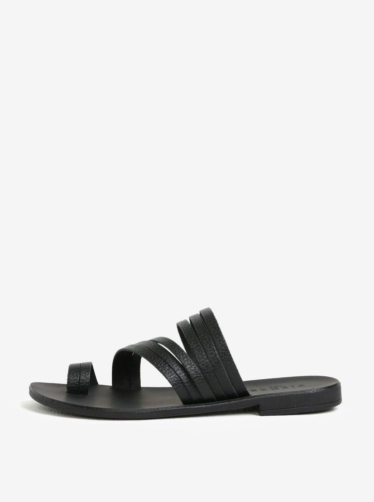 Papuci negri cu barete subtiri din piele  Pieces Mavis