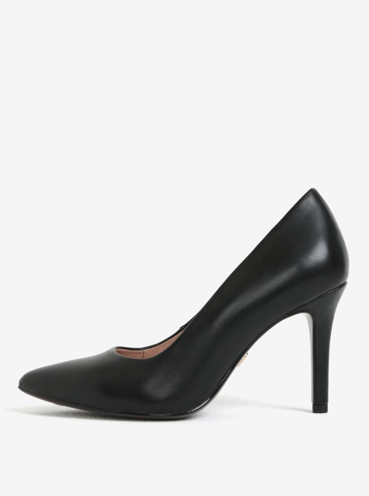 Pantofi cu toc cui negri din piele Tamaris