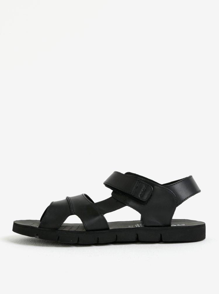Sandale negre din piele cu velcro pentru barbati Geox Mary Glenn