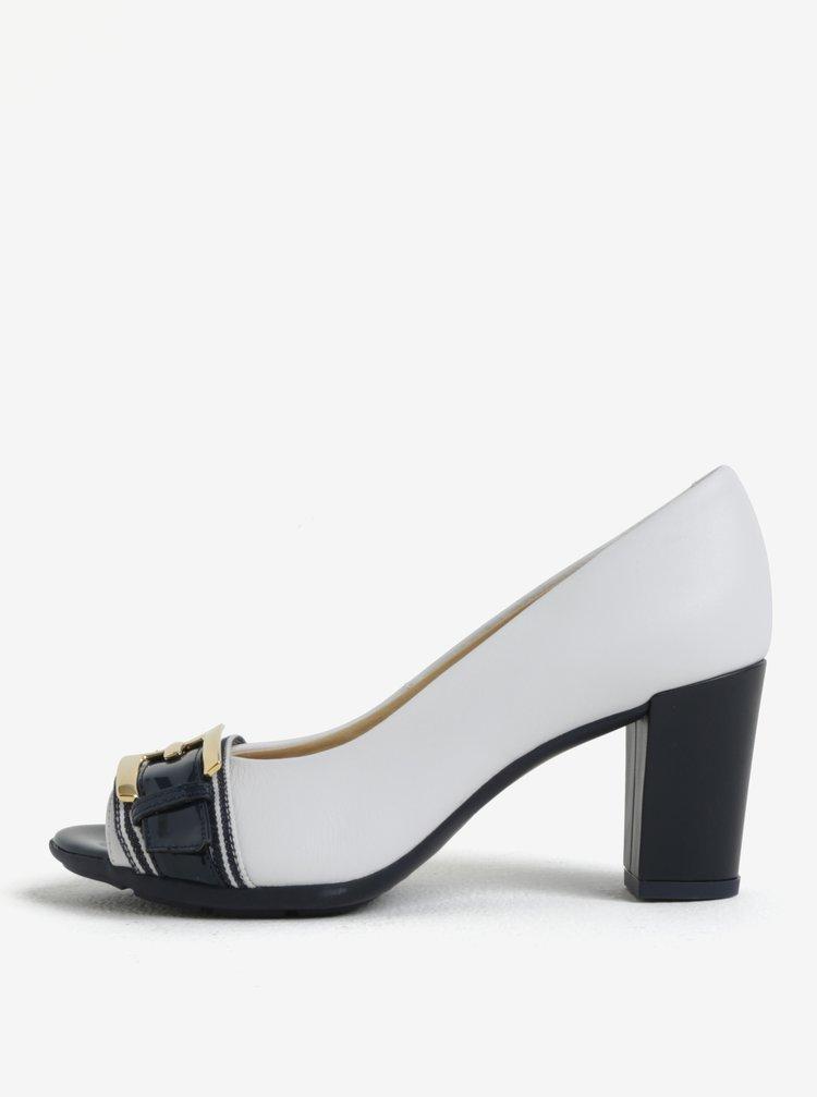 Pantofi peep toe crem cu catarama decorativa din piele Geox Annya