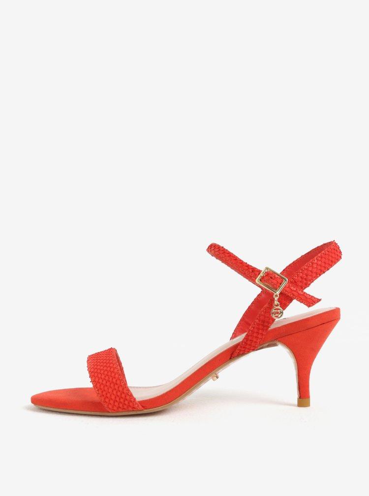 Červené kožené sandálky na jehlovém podpatku Dune London Monnrow