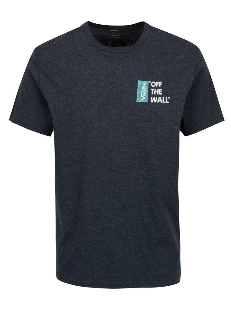 Tmavě modré pánské žíhané tričko s potiskem VANS Off the Wall