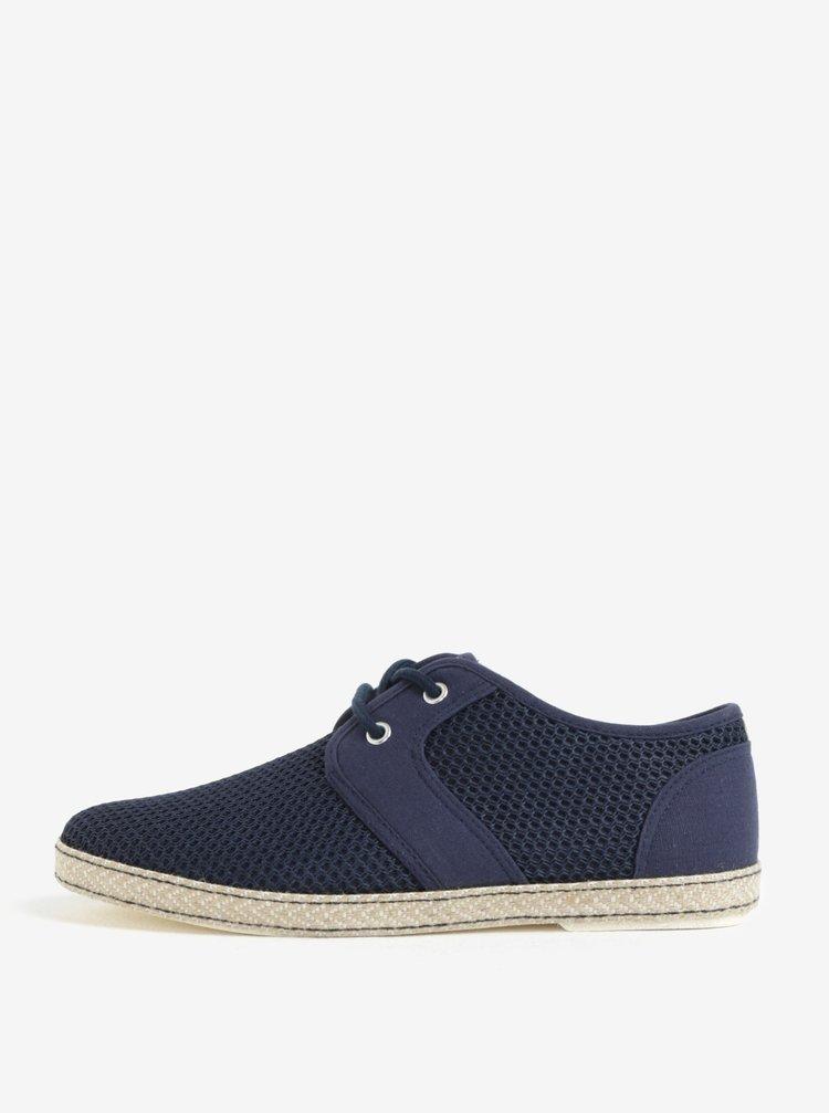 Pantofi bleumarin cu perforatii si siret Dune London Fenntons
