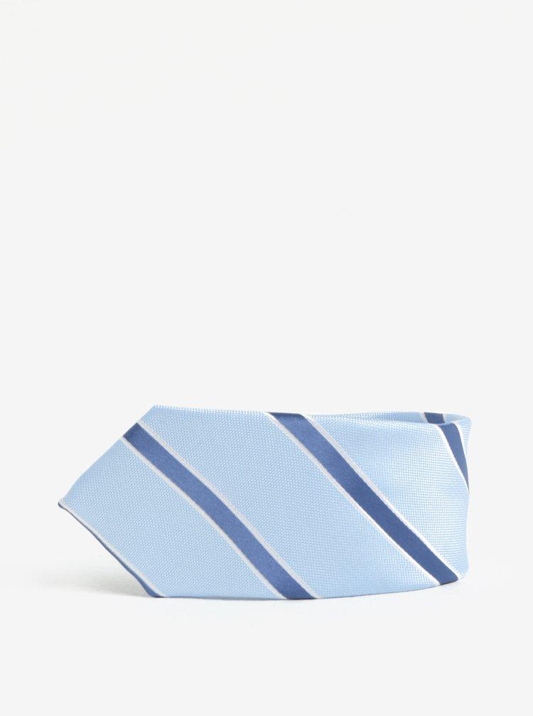Světle modrá pruhovaná kravata Burton Menswear London