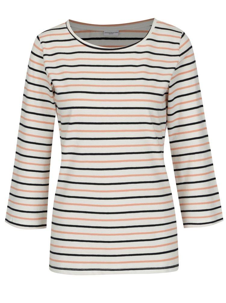 Růžovo-krémové pruhované basic tričko Jacqueline de Yong Charm