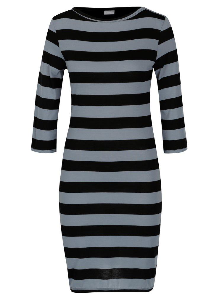 Černo-šedé pruhované šaty Jacqueline de Yong Bug
