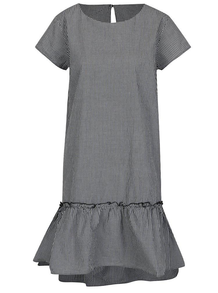 Krémovo-černé kostkované šaty s volánem Jacqueline de Yong Boost
