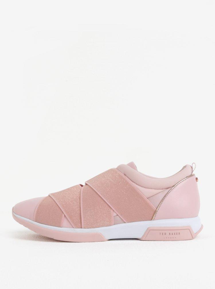 Růžové dámské kožené slip on Ted Baker Queane