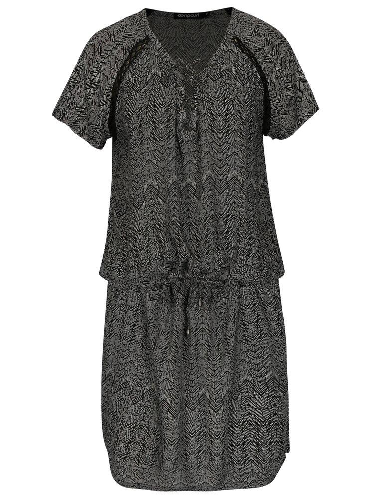 Bielo-čierne vzorované šaty so šnurovaním Rip Curl