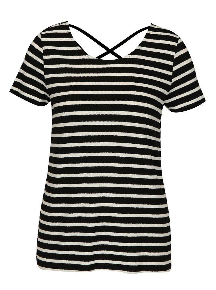 Krémovo-černé pruhované tričko ONLY Bera