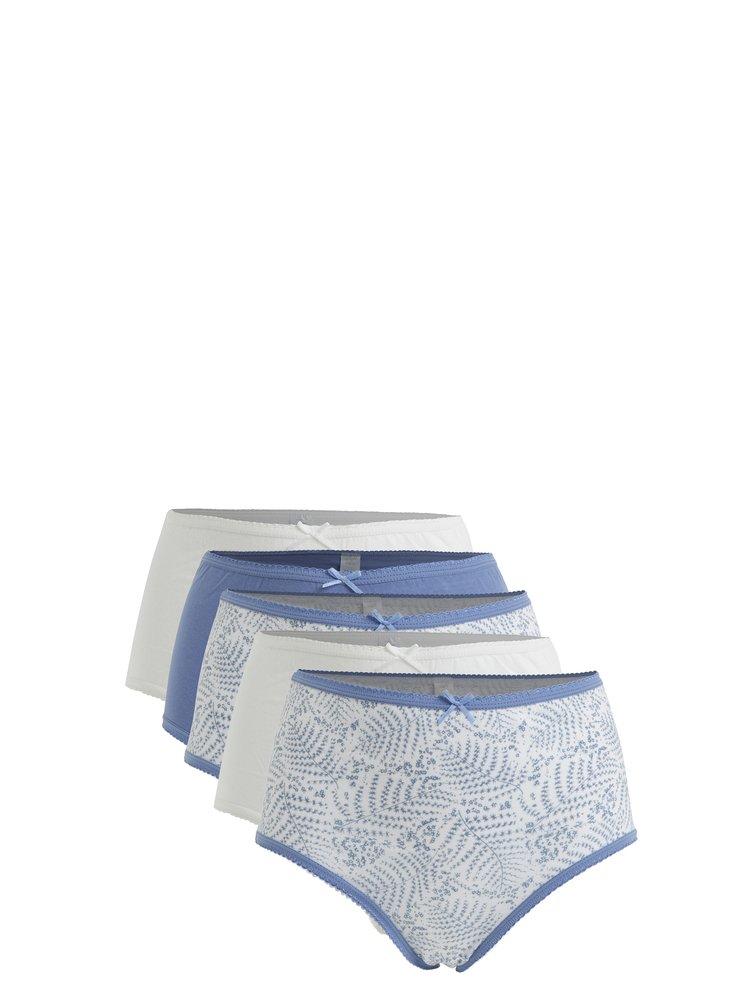 Sada pěti kalhotek v modré a bílé barvě M&Co